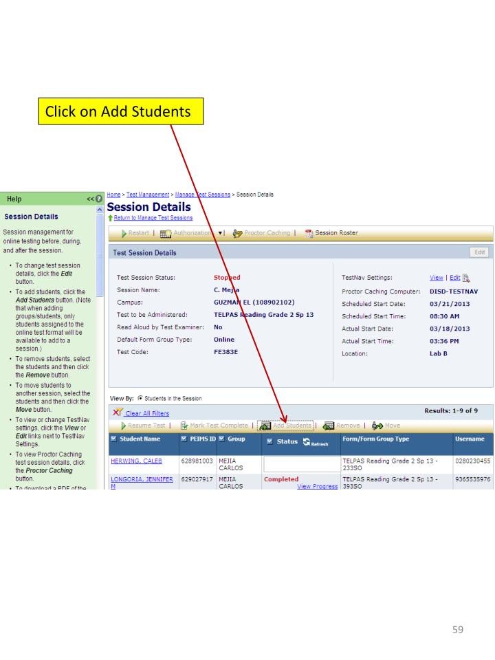 Click on Add Students