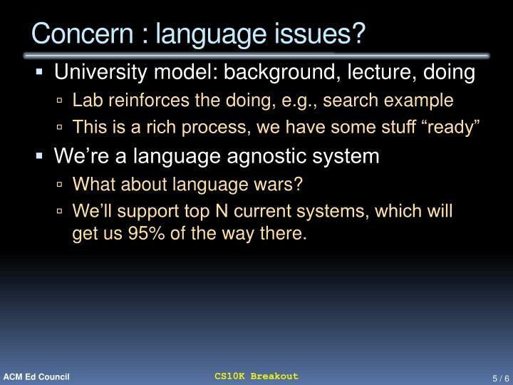 Concern : language issues?