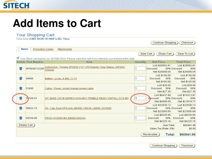 Add Items to Cart