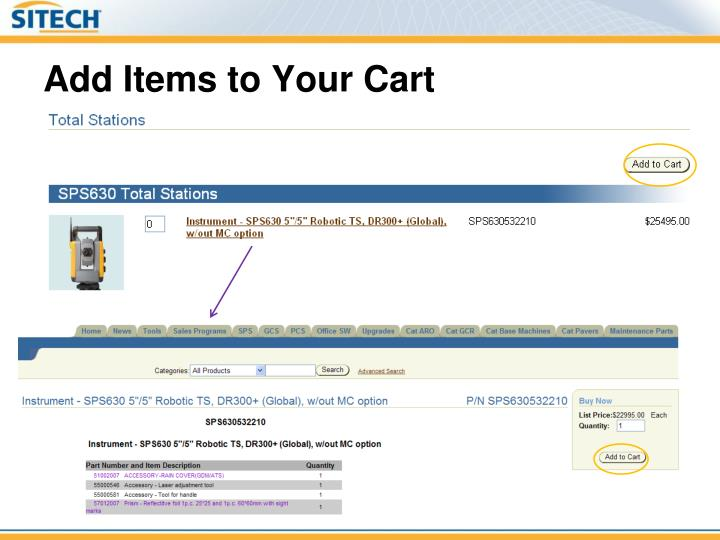 Add Items to Your Cart