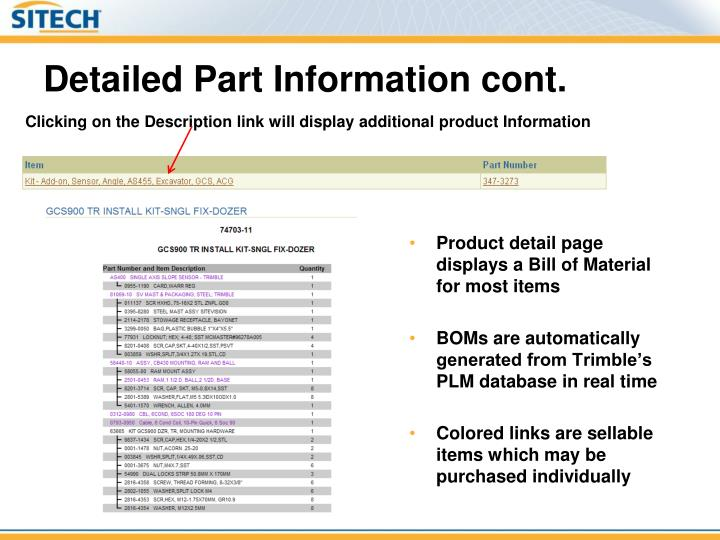 Detailed Part Information cont.