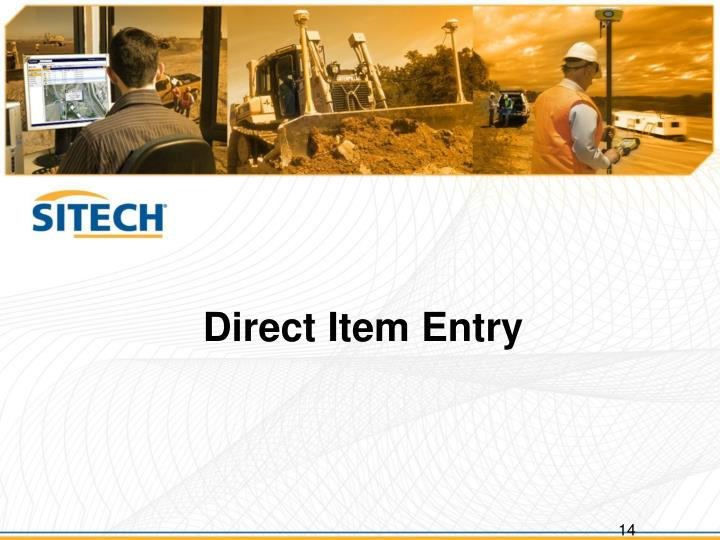Direct Item Entry