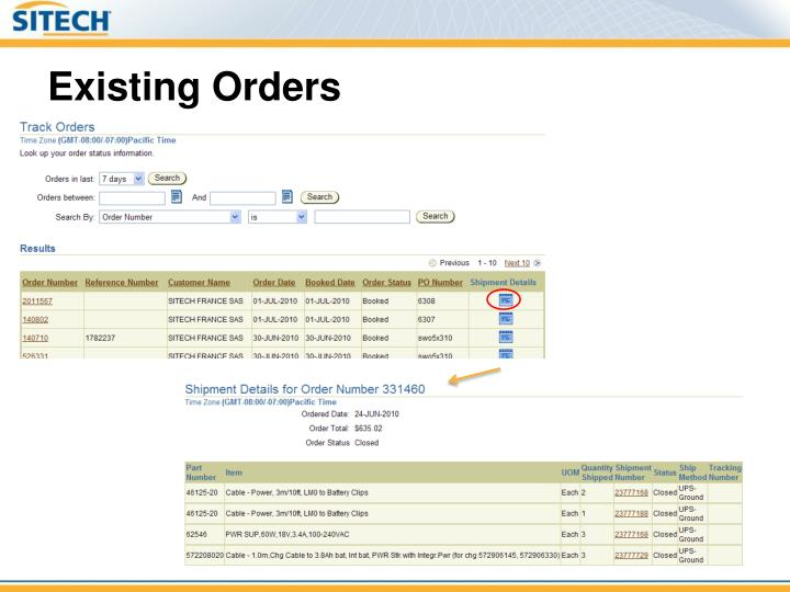 Existing Orders
