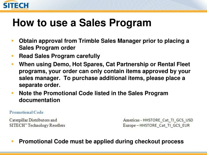 How to use a Sales Program