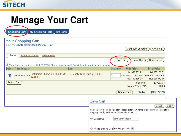 Manage Your Cart