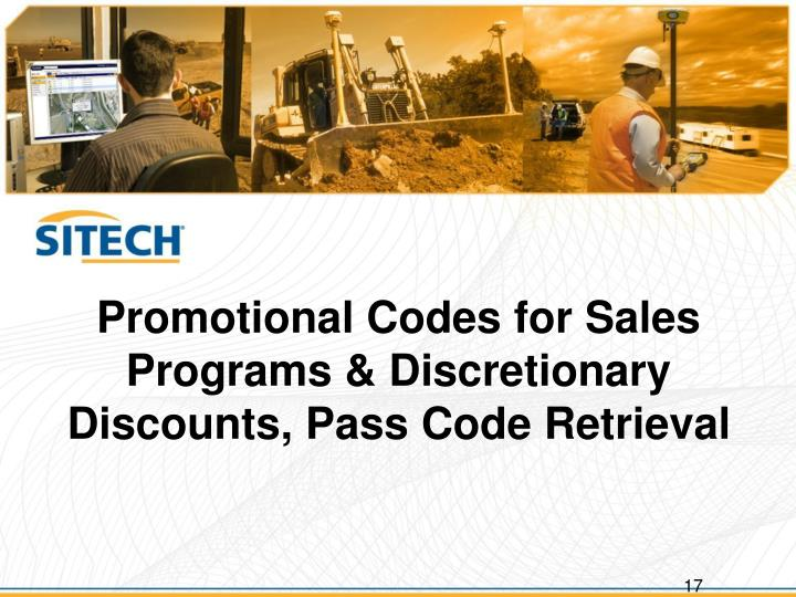 Promotional Codes for Sales Programs & Discretionary Discounts, Pass Code Retrieval