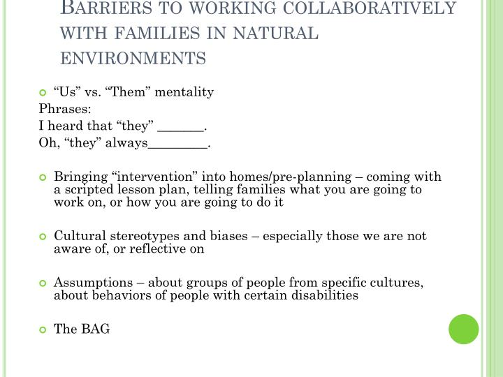 Barriers to working collaboratively with families in natural environments