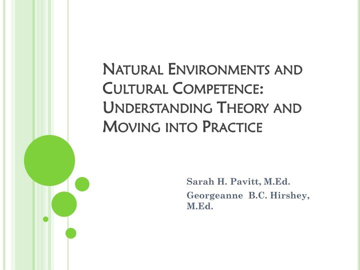 Natural environments and cultural competence understanding theory and moving into practice