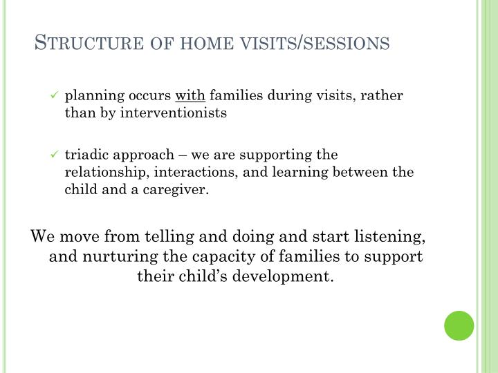 Structure of home visits/sessions