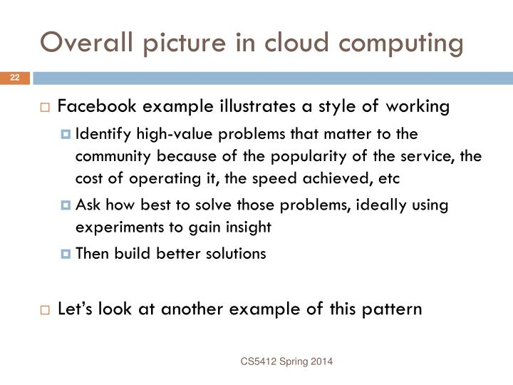Overall picture in cloud computing