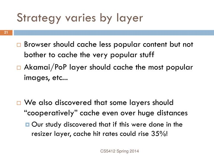 Strategy varies by layer