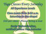yoga classes every saturday