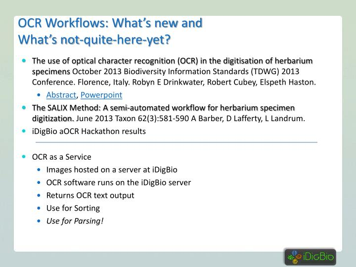 OCR Workflows: What's