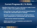 current progress 2 10 irad