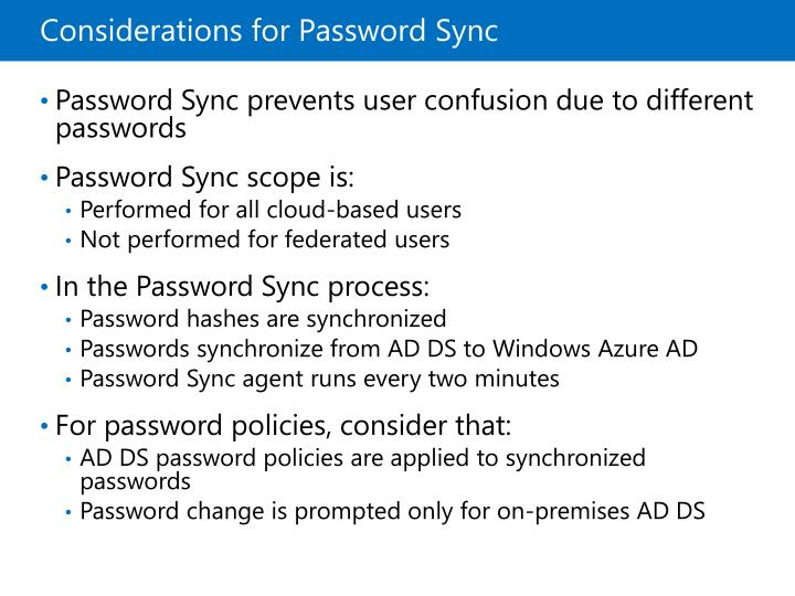 Considerations for Password Sync