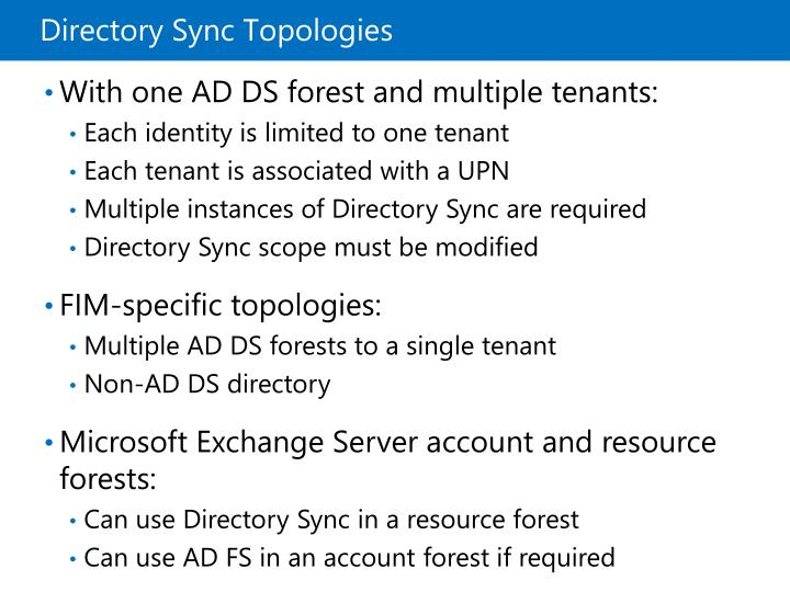 Directory Sync Topologies