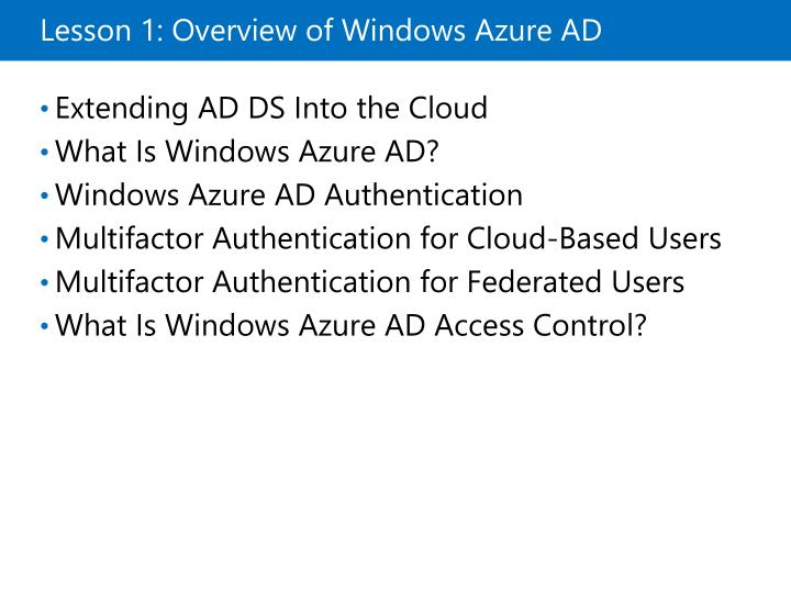 Lesson 1 overview of windows azure ad