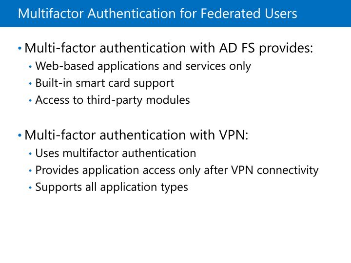 Multifactor Authentication for Federated Users