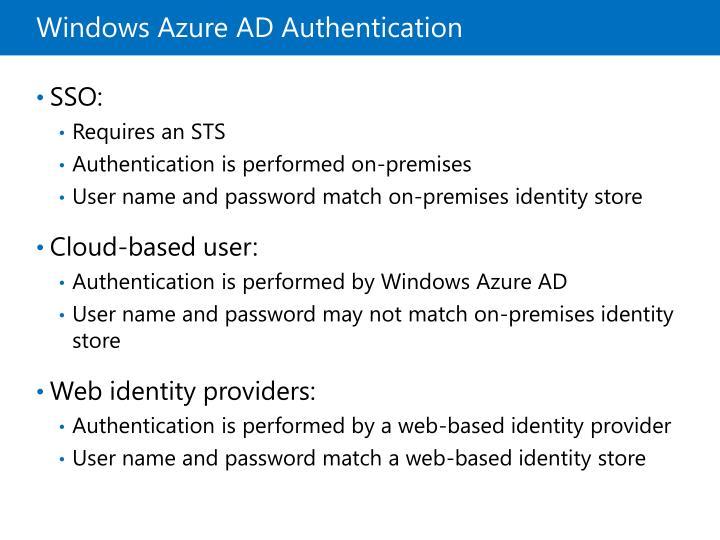 Windows Azure AD Authentication