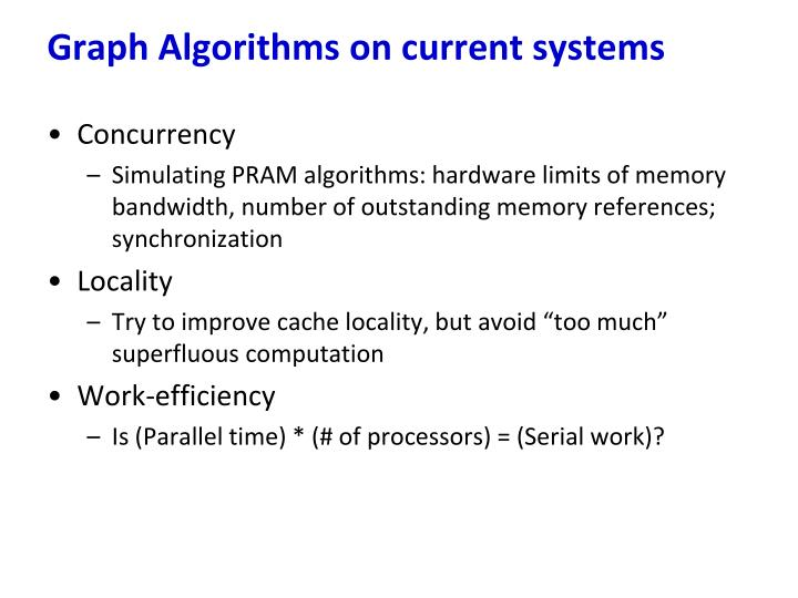 Graph Algorithms on current systems