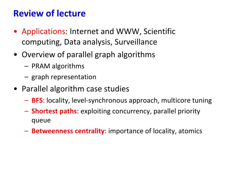 Review of lecture