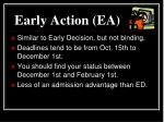 early action ea