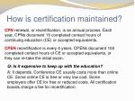 how is certification maintained