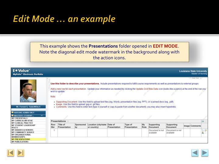 Edit Mode … an example