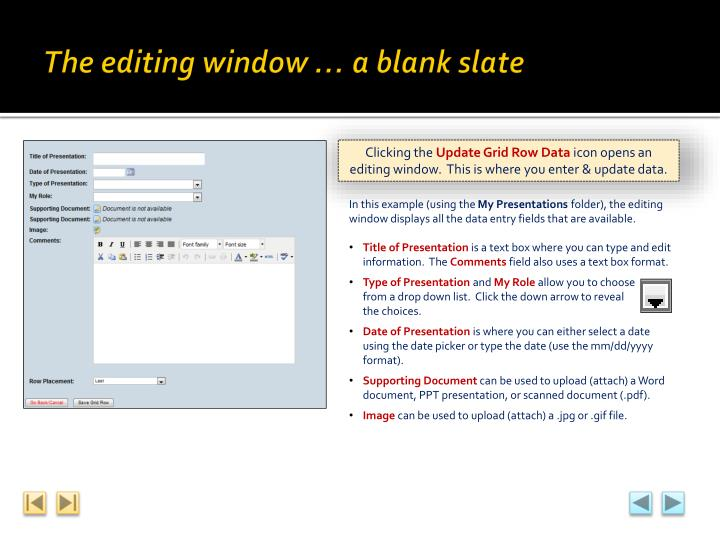 The editing window … a blank slate