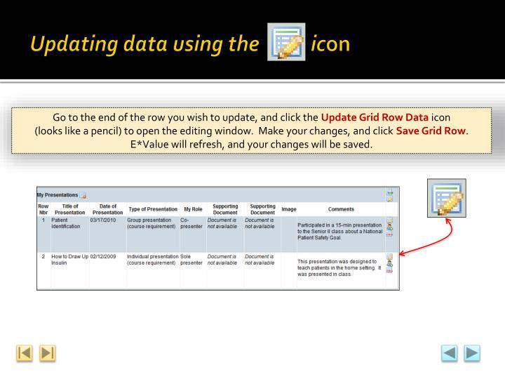 Updating data using the           ic