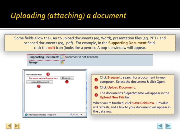 Uploading (attaching) a document