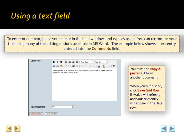 Using a text field