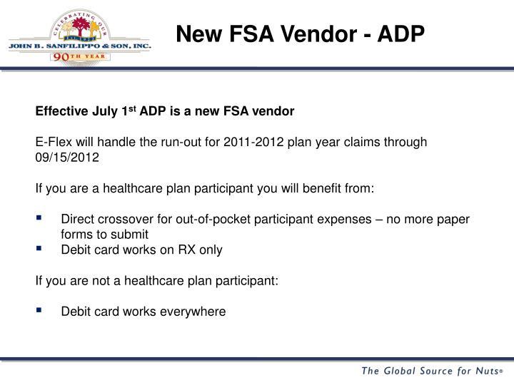 New FSA Vendor - ADP