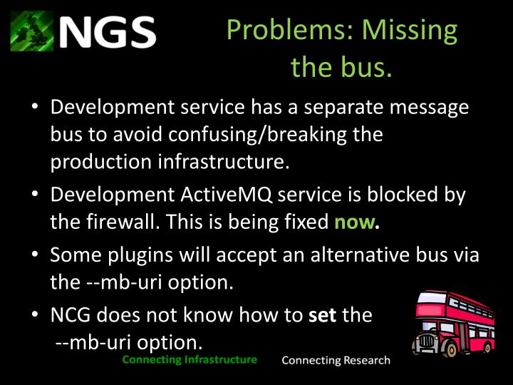 Problems: Missing the bus.