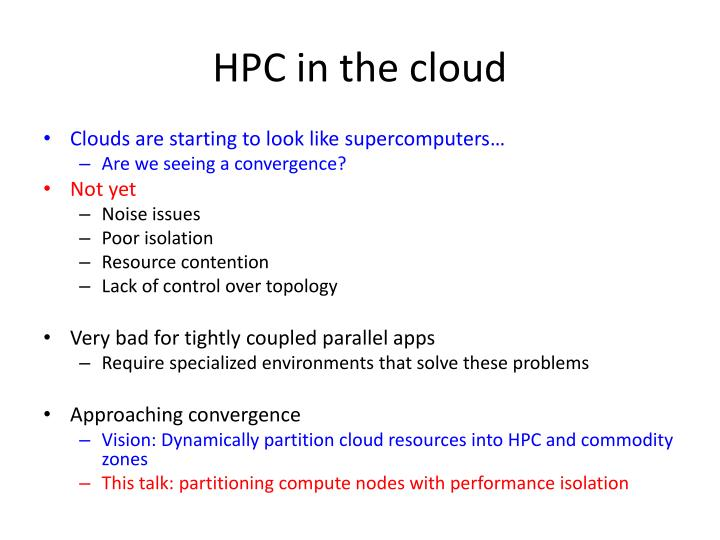 HPC in the cloud