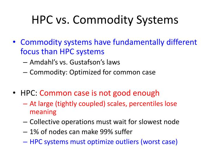 HPC vs. Commodity Systems