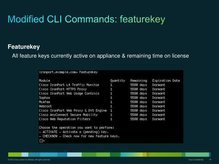 Modified CLI Commands: