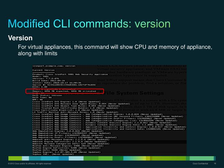 Modified CLI commands: version