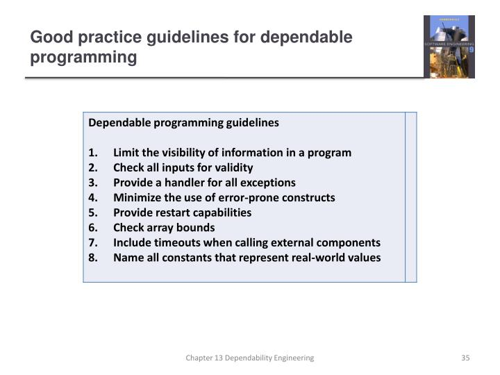 Good practice guidelines for dependable programming
