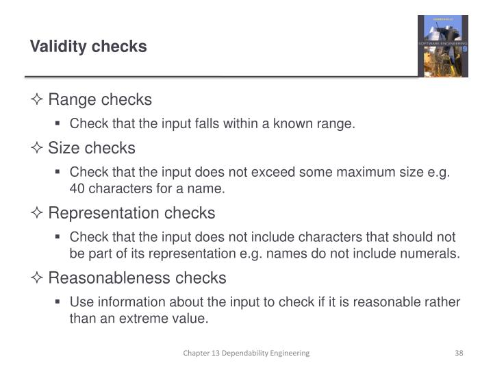 Validity checks