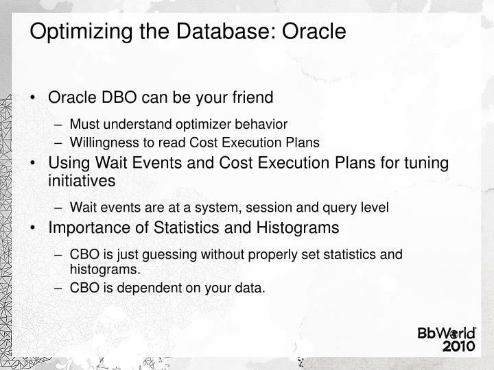 Optimizing the Database: Oracle
