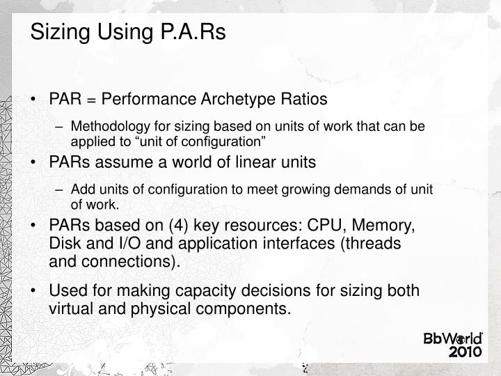 Sizing Using P.A.Rs