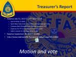 treasurer s report