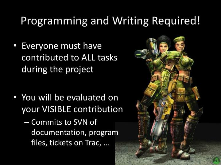Programming and Writing Required!