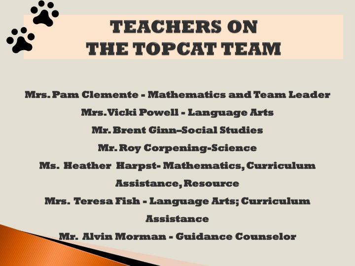 Teachers on the topcat team