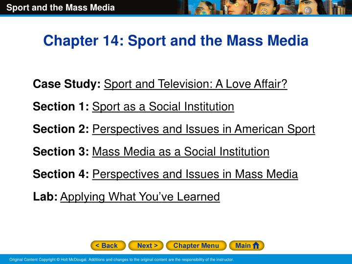 sports in the mass media Sports have had a huge influence in this world ever since the 1950's, mass media has brought a mostly negative perspective in the area of athletics to the public many professional athletes have been perceived to be above the law sometimes, athletes will commit various crimes.