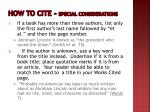 how to cite special considerations