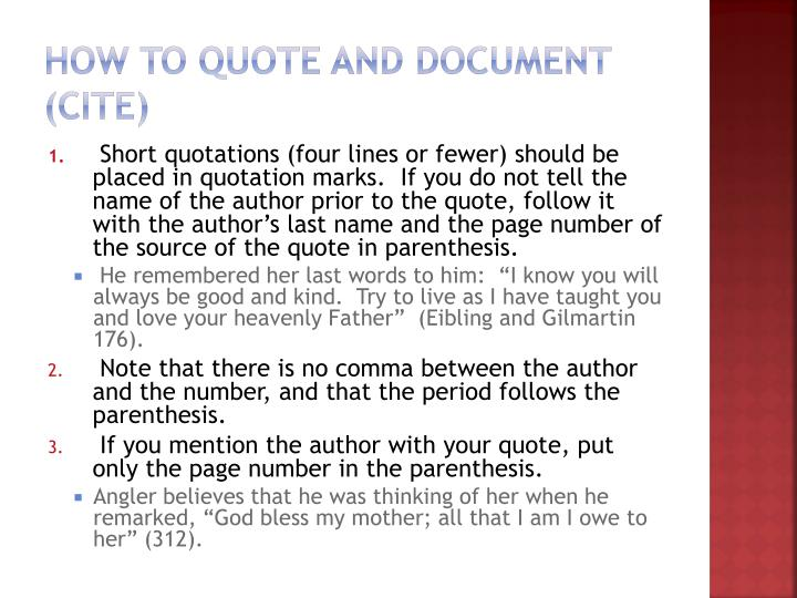 How to Quote and Document (Cite)