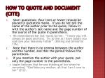 how to quote and document cite