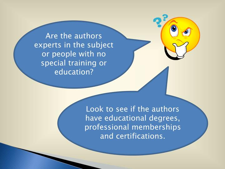Are the authors experts